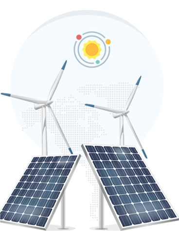 solar panel and wind generators